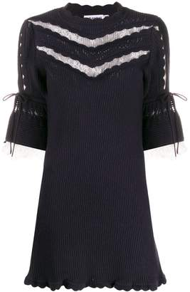 Self-Portrait scalloped knit mini dress
