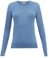 Jil Sander Round-neck Cashmere-blend Sweater - Womens - Blue
