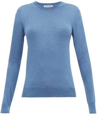 Jil Sander Round-neck Cashmere-blend Sweater - Womens - Blue