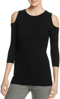 Aqua Cold Shoulder Rib Knit Sweater - 100% Exclusive
