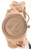 "Akribos XXIV Women's ""AK558RG"" Quartz Multi-Function Crystal-Accented Twist-Chain Watch in Rose-Gold Tone"