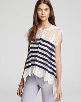 BCBGMAXAZRIA Top - Lace Stripe