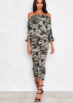 Missy Empire Aisha Camouflage Off The Shoulder With Ruffle Co-Ord
