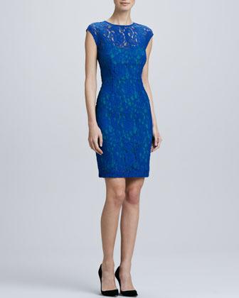 Ivy & Blu Lace Contrast-Underlay Sheath Dress