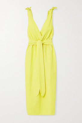 Mara Hoffman + Net Sustain Calypso Belted Organic Cotton And Linen-blend Midi Dress - Chartreuse