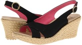 Crocs A-Leigh Linen Wedge (Black/Chai) - Footwear