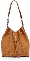 MCM Gold-Tone Stud Visetos Drawstring Shoulder Bag