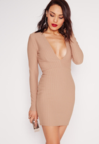 Missguided Textured Long Sleeve Plunge Bodycon Dress Taupe