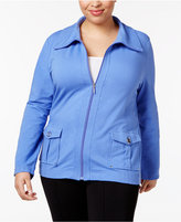 Karen Scott Plus Size Wing-Collar Jacket, Only at Macy's