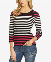 CeCe Bow-Detail Striped Sweater