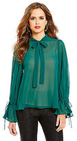 Gianni Bini Tautou Long Sleeve Mock Neck Tie Blouse