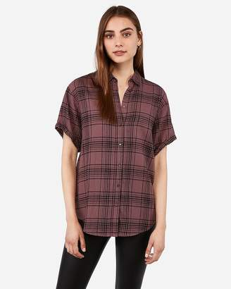 Express Purple Plaid Short Sleeve Flannel Shirt