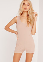 Missguided Ribbed Scoop Neck Romper Pink