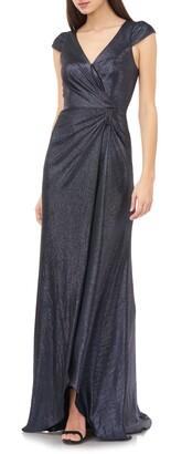Carmen Marc Valvo Metallic Shimmer Faux Wrap Gown