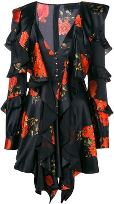 Philipp Plein Ruffled Floral Print Dress