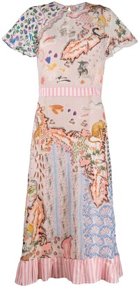 Liberty London Contrast Printed Midi Dress