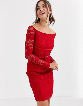 Paper Dolls bardot belted lace dress in red
