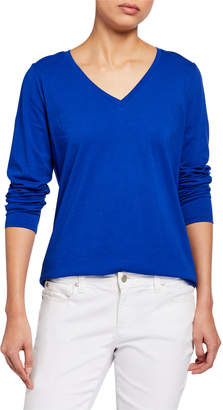 Eileen Fisher V-Neck Long-Sleeve Organic Cotton Jersey Tee