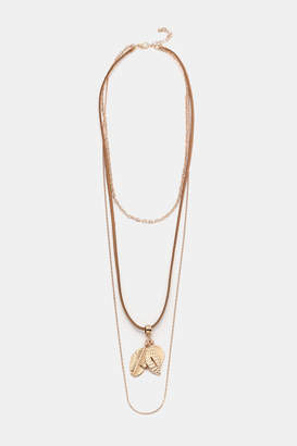 Ardene Layered Chain and Leather Necklace