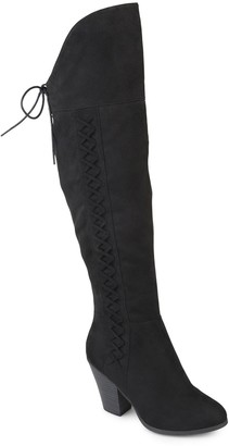 Journee Collection Spritzs Over-the-Knee Lace-Up Boot - Wide Calf