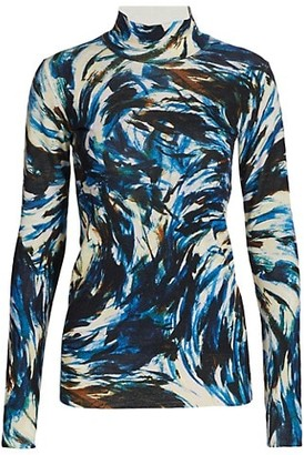 Proenza Schouler Feather Print High-Neck Pullover