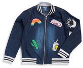 Flowers by Zoe Girls 7-16 Denim Patch-Accented Varsity Jacket