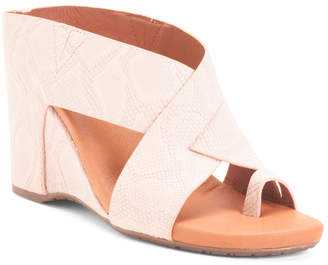 Comfort Leather Cross Band Cork Wedge Sandals