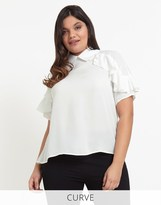 Fashion Union ** Rts **fashion Union Curve Shirt With Frill Detail