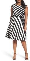 Tahari Plus Size Women's Stripe Fit & Flare Dress
