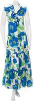 Kate Spade Floral Print Ruffle-Trimmed Dress