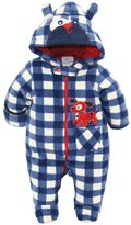 Duck Duck Goose Duck Goose Baby Boys Plaid Print Cute Pappy Plush Footed Ear Pram Suit