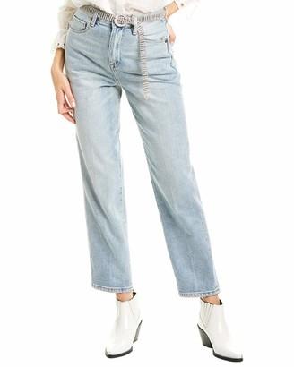 Blank NYC Women's Light Blue Indigo Loose Fit Jean Belted