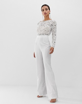Vesper lace jumpsuit in white