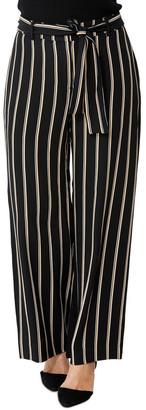 PINGPONG Belted Pin Stripe Palazzo Pant