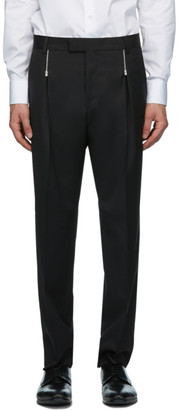 HUGO BOSS Black Wool Zip Detail Trousers