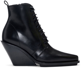 Ann Demeulemeester Black Lace-Up Wedge Ankle Boots