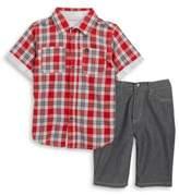 Calvin Klein Boys Plaid Sportshirt and Shorts Set