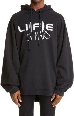 Raf Simons Oversize Graphic Distressed Hoodie
