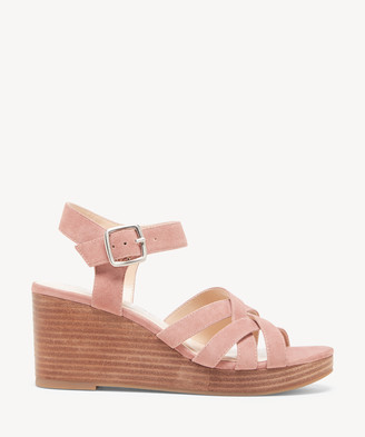 Sole Society Women's Cattah Strappy Wedges Mod Mauve Size 5 Suede From
