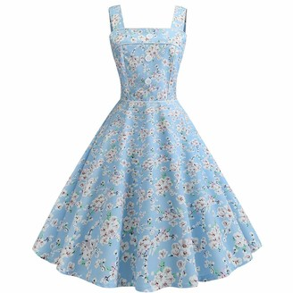 Auied Women Floral Print Vintage 1950s Sleeveless Ruched Strappy Printing Evening Party Prom Swing Dress Light Blue