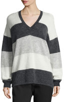 Vince Striped Mohair-Blend V-Neck Sweater, Carbon/White/Steel