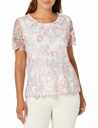Alfred Dunner Women's Petite Floral Lace Top