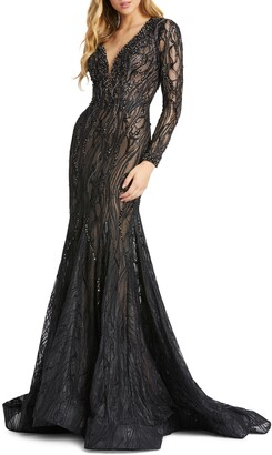 Mac Duggal Long Sleeve Lace Beaded Mermaid Gown