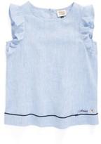 Armani Junior Girl's Chambray Ruffle Sleeve Top