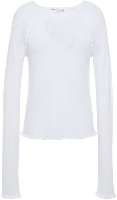 alexanderwang.t Ruffle-trimmed Merino Wool-blend Top