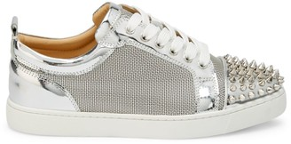 Christian Louboutin Louis Junior Spikes Metallic Sneakers