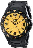 Caterpillar Cat Men's Quartz Watch with Yellow Dial Analogue Display and Black Rubber Strap LB.111.21.731