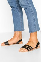 boohoo Leather 3 Strap Sandals