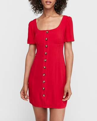 Express Square Neck Button Front Shift Dress