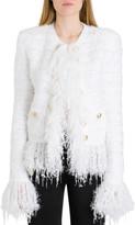 Balmain Fringed Double-breasted Tweed Jacket